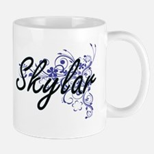 Skylar Artistic Name Design with Flowers Mugs