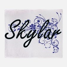 Skylar Artistic Name Design with Flo Throw Blanket