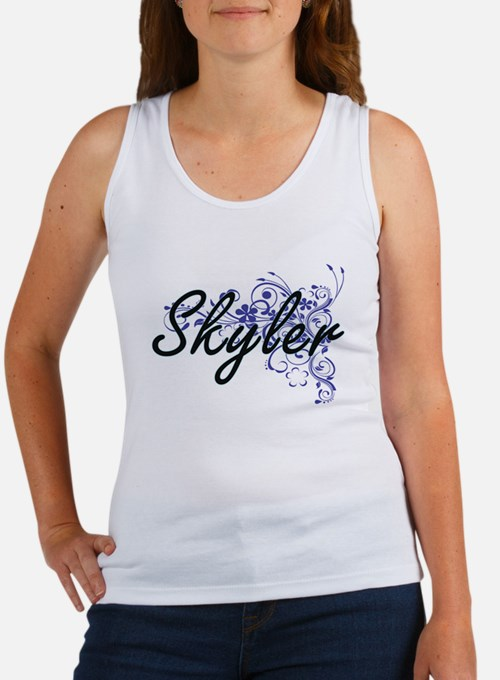 Skyler Artistic Name Design with Flowers Tank Top