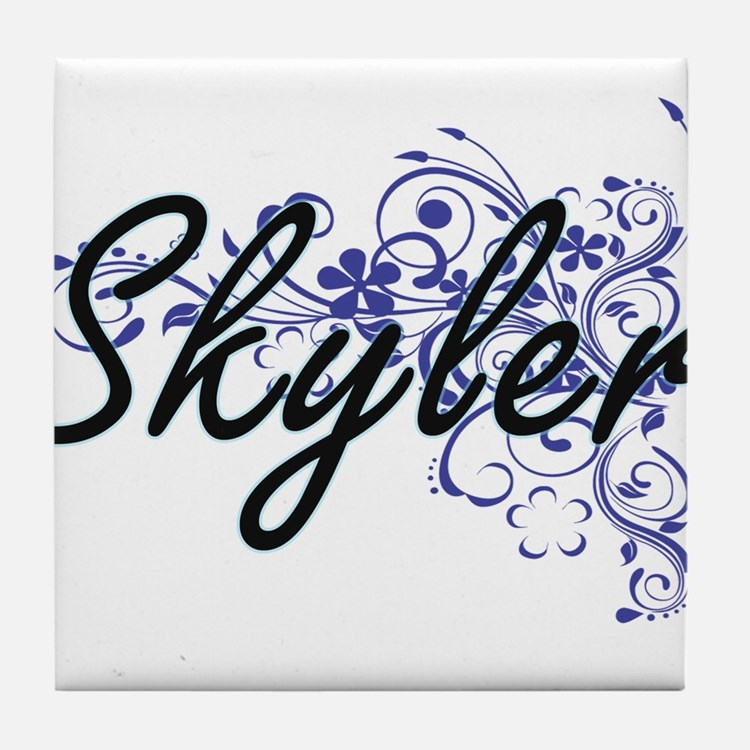 Skyler Artistic Name Design with Flow Tile Coaster