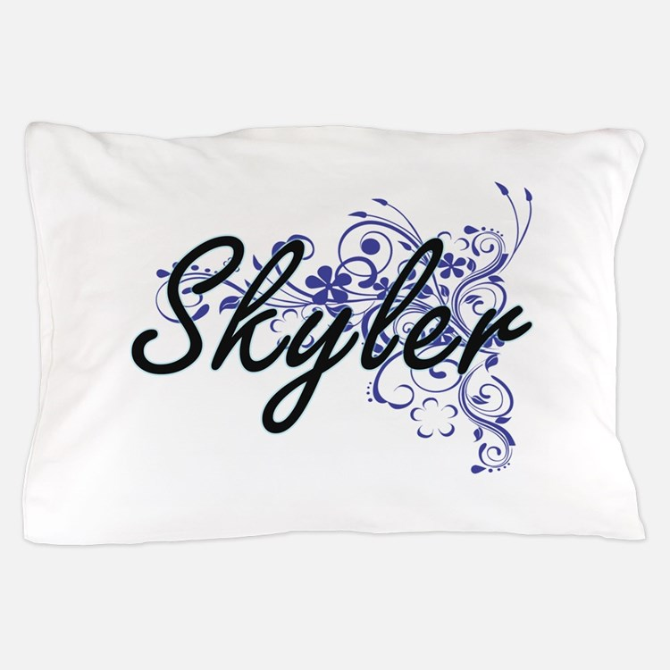 Skyler Artistic Name Design with Flowe Pillow Case