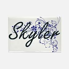 Skyler Artistic Name Design with Flowers Magnets
