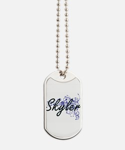 Skyler Artistic Name Design with Flowers Dog Tags