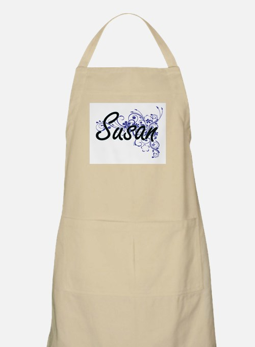 Susan Artistic Name Design with Flowers Apron