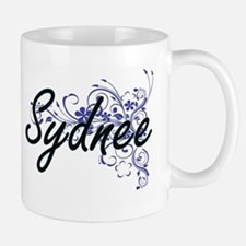 Sydnee Artistic Name Design with Flowers Mugs
