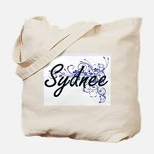 Sydnee Artistic Name Design with Flowers Tote Bag