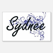 Sydnee Artistic Name Design with Flowers Decal