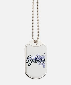 Sydnee Artistic Name Design with Flowers Dog Tags