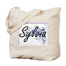 Sylvia Artistic Name Design with Flowers Tote Bag