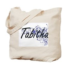 Tabitha Artistic Name Design with Flowers Tote Bag