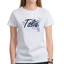 Talia Artistic Name Design with Flowers T-Shirt