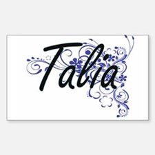 Talia Artistic Name Design with Flowers Decal