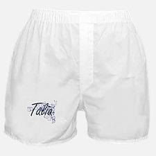 Talia Artistic Name Design with Flowe Boxer Shorts