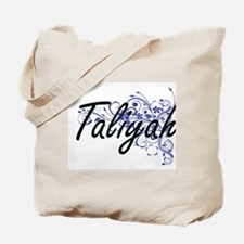 Taliyah Artistic Name Design with Flowers Tote Bag