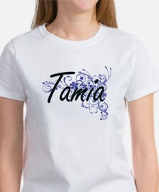 Tamia Artistic Name Design with Flowers T-Shirt