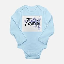 Tamia Artistic Name Design with Flowers Body Suit