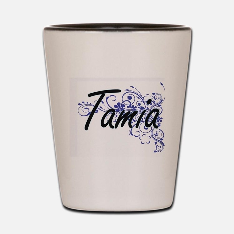 Tamia Artistic Name Design with Flowers Shot Glass