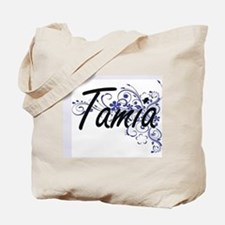 Tamia Artistic Name Design with Flowers Tote Bag