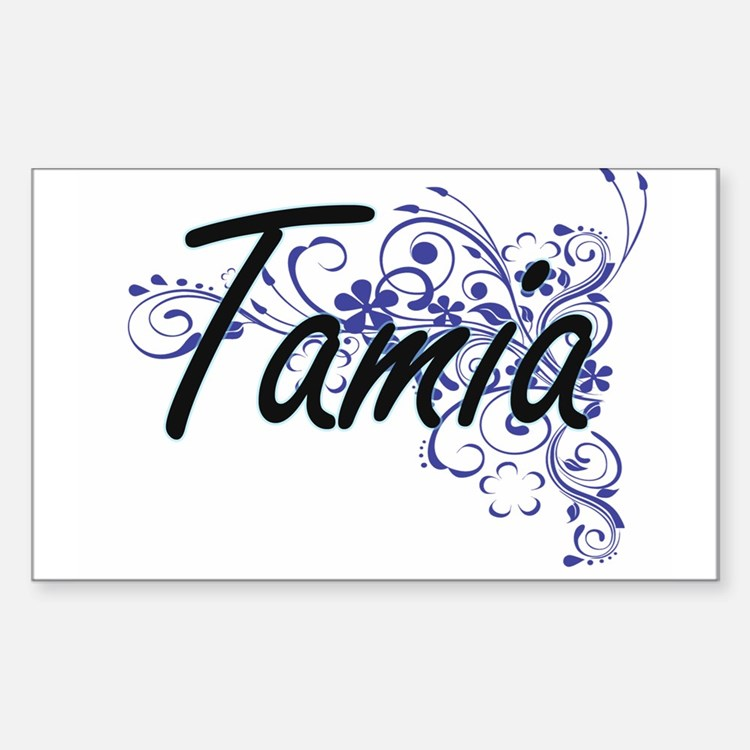 Tamia Artistic Name Design with Flowers Decal