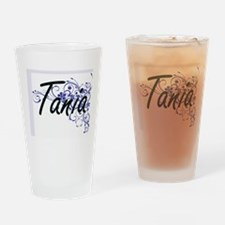 Tania Artistic Name Design with Flo Drinking Glass