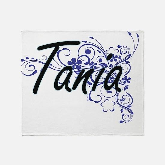Tania Artistic Name Design with Flow Throw Blanket