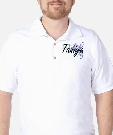 Taniya Artistic Name Design with Flower Golf Shirt