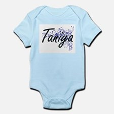 Taniya Artistic Name Design with Flowers Body Suit