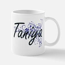 Taniya Artistic Name Design with Flowers Mugs