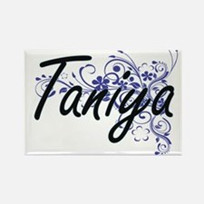 Taniya Artistic Name Design with Flowers Magnets