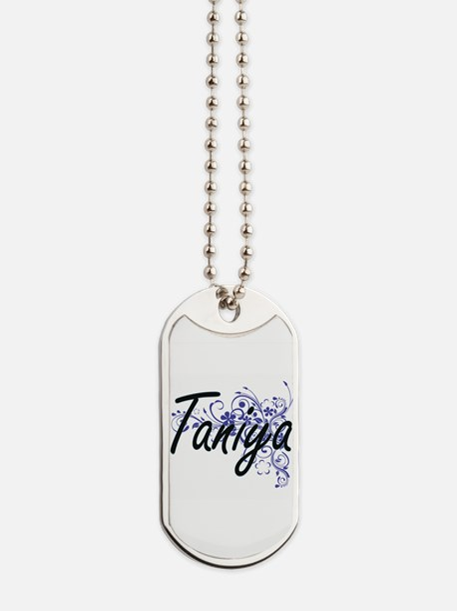 Taniya Artistic Name Design with Flowers Dog Tags