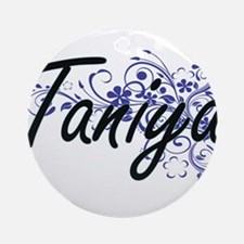Taniya Artistic Name Design with Fl Round Ornament
