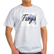 Tanya Artistic Name Design with Flowers T-Shirt