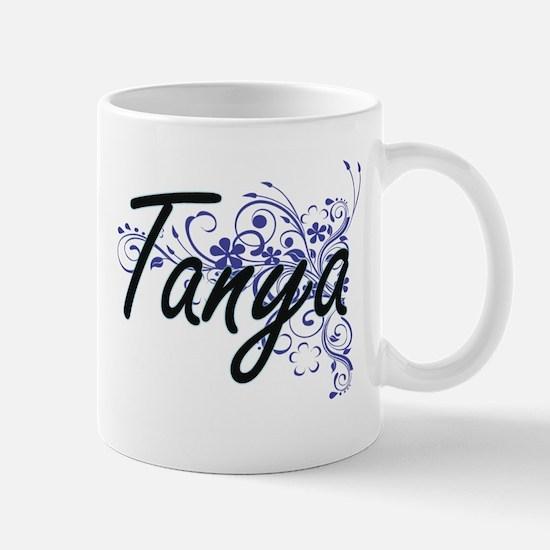 Tanya Artistic Name Design with Flowers Mugs
