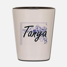 Tanya Artistic Name Design with Flowers Shot Glass