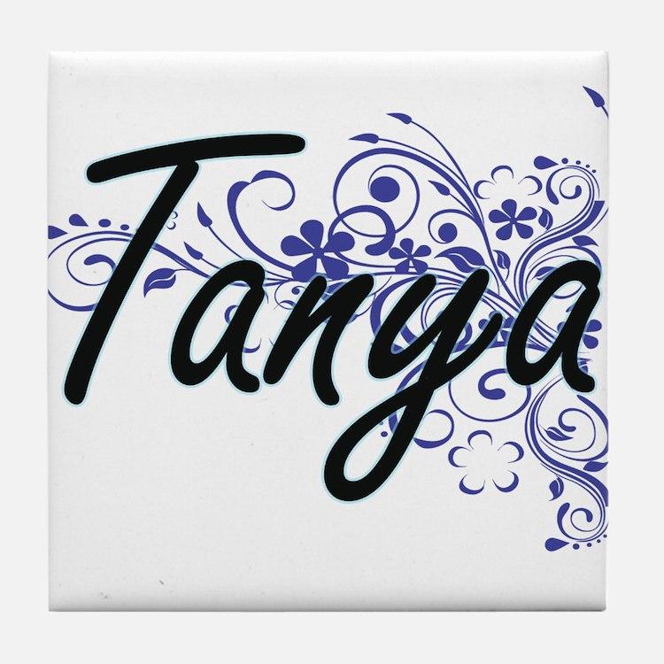 Tanya Artistic Name Design with Flowe Tile Coaster