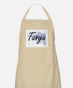Tanya Artistic Name Design with Flowers Apron