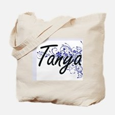 Tanya Artistic Name Design with Flowers Tote Bag