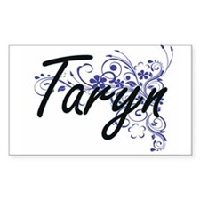Taryn Artistic Name Design with Flowers Decal