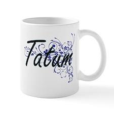 Tatum Artistic Name Design with Flowers Mugs