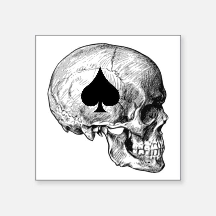 "Cute Ace of spades death Square Sticker 3"" x 3"""