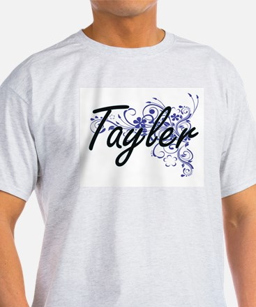 Tayler Artistic Name Design with Flowers T-Shirt