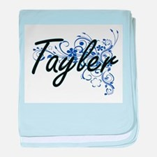 Tayler Artistic Name Design with Flow baby blanket