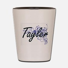 Tayler Artistic Name Design with Flower Shot Glass