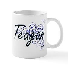 Teagan Artistic Name Design with Flowers Mugs