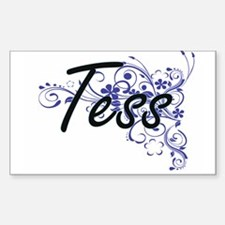 Tess Artistic Name Design with Flowers Decal