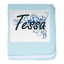 Tessa Artistic Name Design with Flowe baby blanket