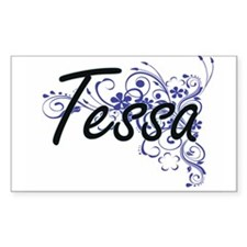 Tessa Artistic Name Design with Flowers Decal