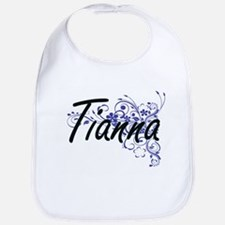 Tianna Artistic Name Design with Flowers Bib