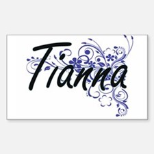 Tianna Artistic Name Design with Flowers Decal