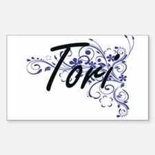 Tori Artistic Name Design with Flowers Decal